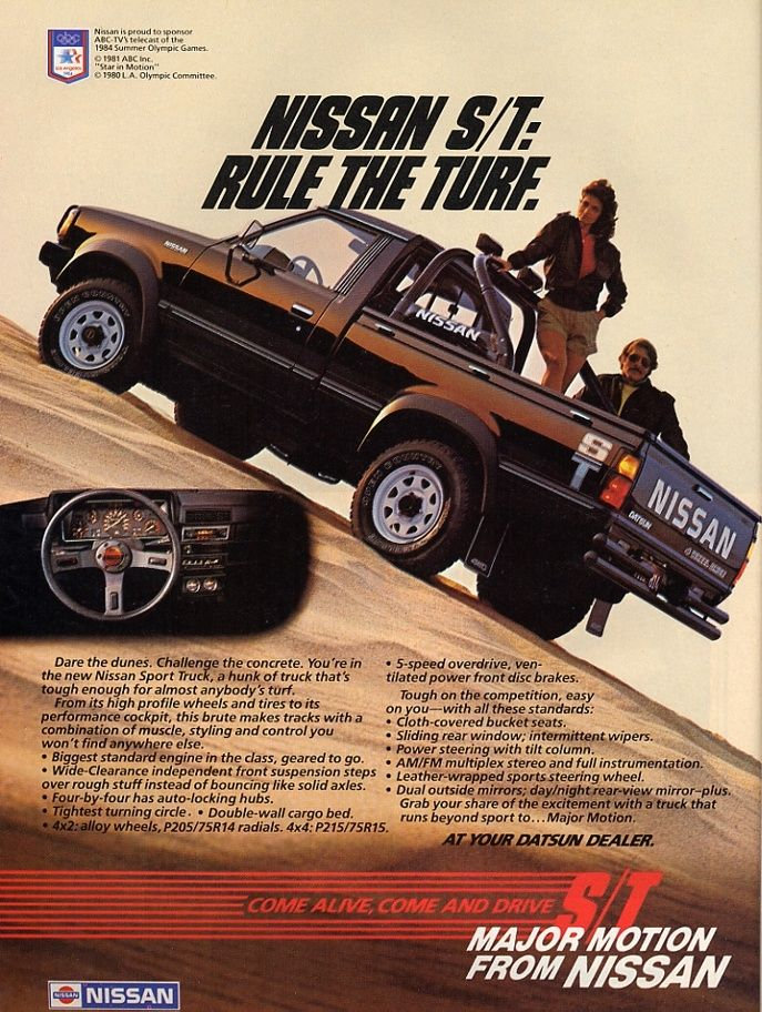 It's throwback Thursday! Check out this classic 1980's Nissan truck ad. Big hair! Big dunes! Big mustache!