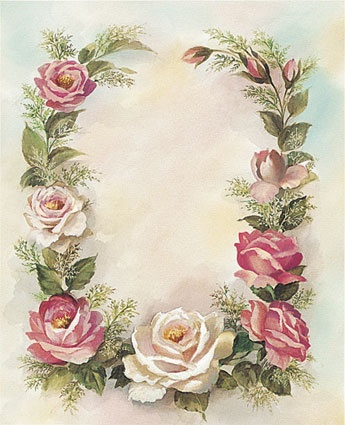 Frame of pink and white roses