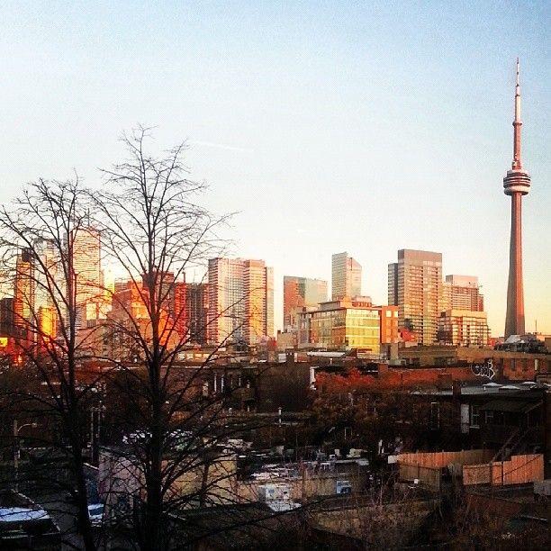 Golden city at sunset. Toronto