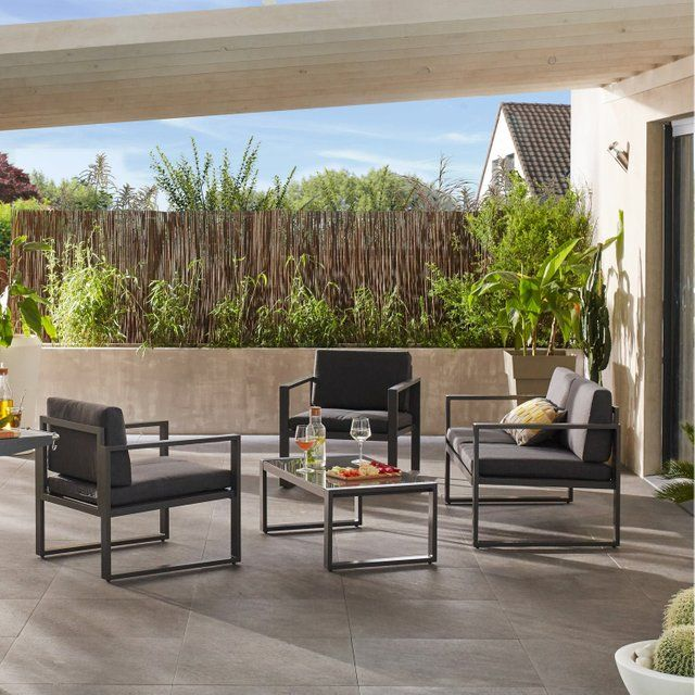 79df9494a112d Salon bas de jardin Lisboa aluminium gris, 4 personnes | Leroy ...