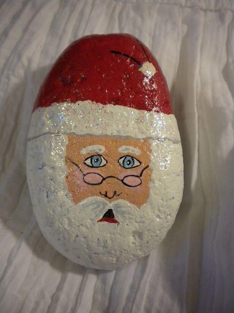 hand painted Christmas Santa rock by Tory RoJo, via Flickr