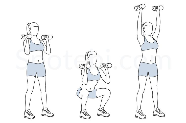 Dumbbell thrusters exercise guide with instructions, demonstration, calories burned and muscles worked. Learn proper form, discover all health benefits and choose a workout.
