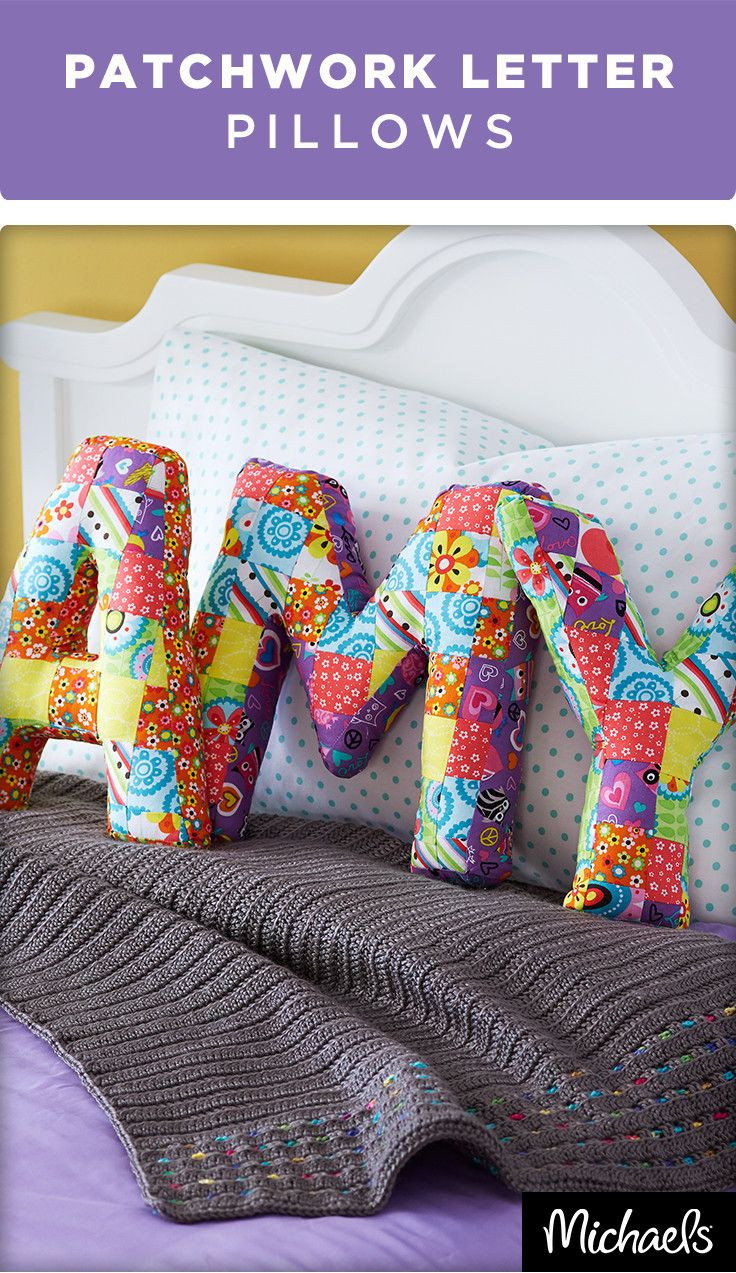 Add a personal handmade touch to any room with patchwork stuffed letter pillows. These alphabet cushions would be perfect for a kids room or symbolizing the family name in the living area. For the tutorial and supplies needed for this project visit Michaels.com.