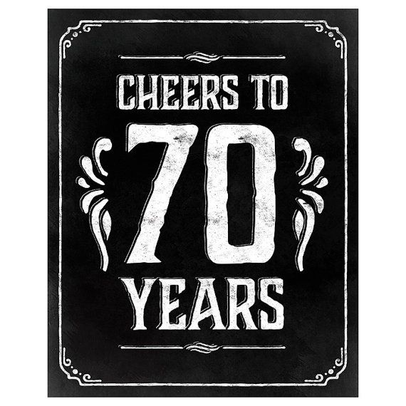 Cheers To 70 Years Sign, Printable Sign, 70th Birthday