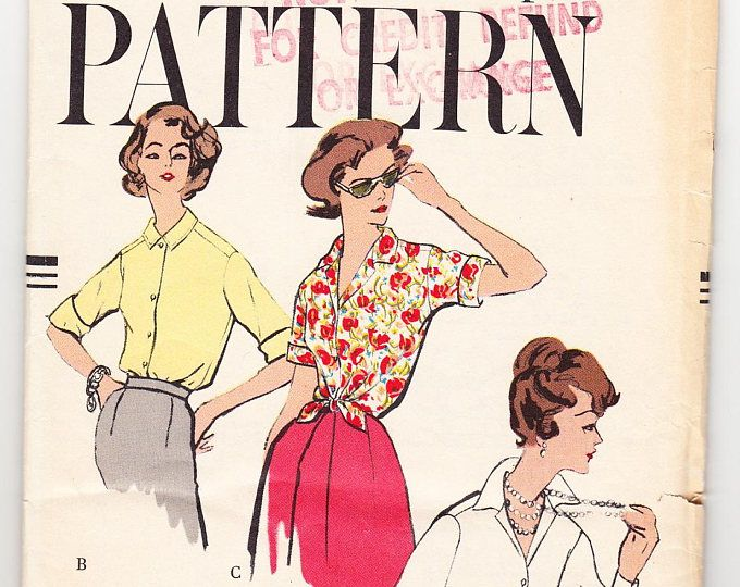 Vintage 1958 Vogue 9485 UNCUT Sewing Pattern Misses' Blouse Size 14 Bust 34