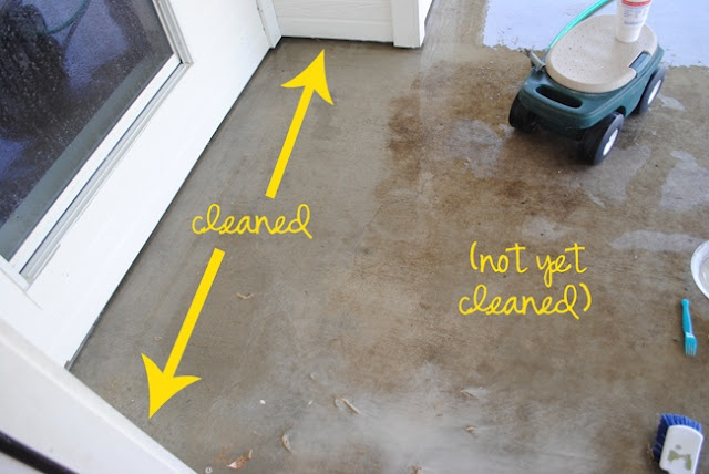 Diy miracle concrete patio cleaner rubber gloves and pie for Bleach on concrete floor