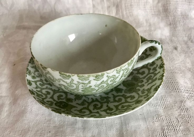 A Pair of Japanese Porcelain Green & White Phoenix Transfer Teacup and  Saucer Antique C 1890 by 88AsianAntiques on Etsy