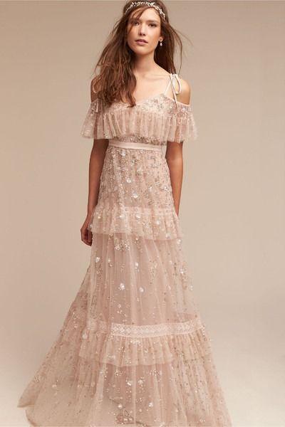 Boho wedding dress idea - blush wedding dress with layered skirt + beading. Style BHLDN Wyndham Gown. Get more wedding dress inspiration by @bhldn on /weddingwire/!