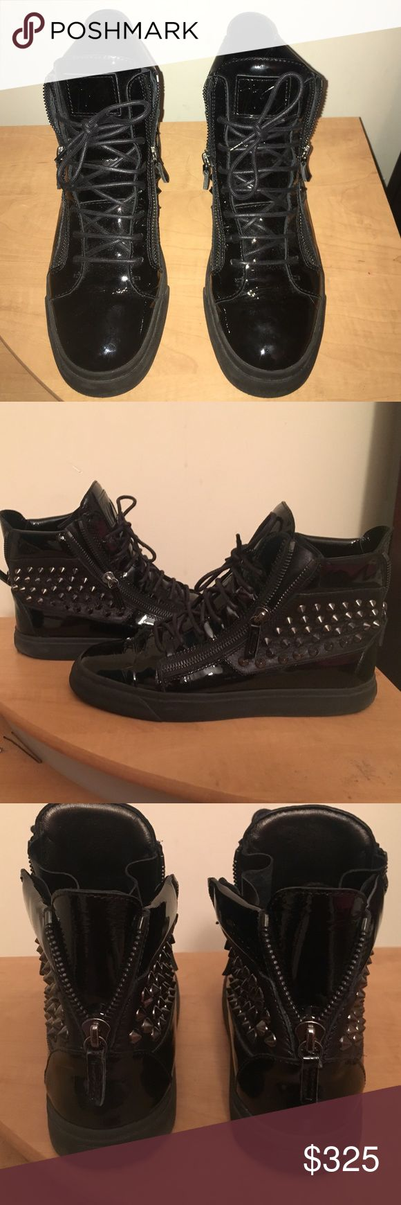 Men's Patent Leather Studded Sneakers AUTHENTIC Men's Giuseppe Zanotti Patent Leather Sneakers .. Worn Twice ! A little to small for my boyfriend so he's looking to get rid of them. His Loss Your Gain! Dope Shoes 🔥 Giuseppe Zanotti Shoes Sneakers