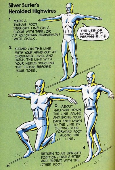 """""""Silver Surfer's Heralded Highwires"""" from The Mighty Marvel Comics Strength and Fitness Book"""