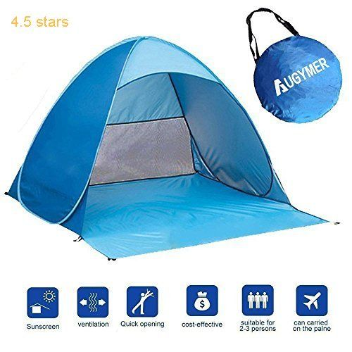 Pop Up Beach Tent Augymer UV Protection Portable 2 Person Folding Pop Up Sun Shelters Shade Lightweight Hiking Camping Beach Canopy Cabana Backpacking Tents