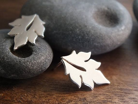 Little leaf post earrings - handcrafted sterling silver woodland earrings