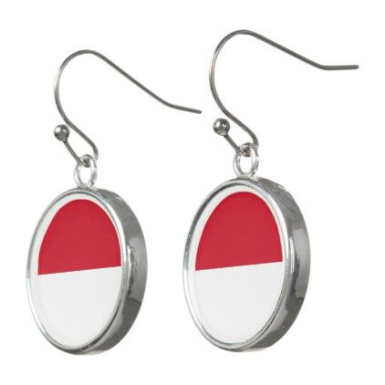 Indonesia Flag Earrings - jewelry jewellery unique special diy gift present