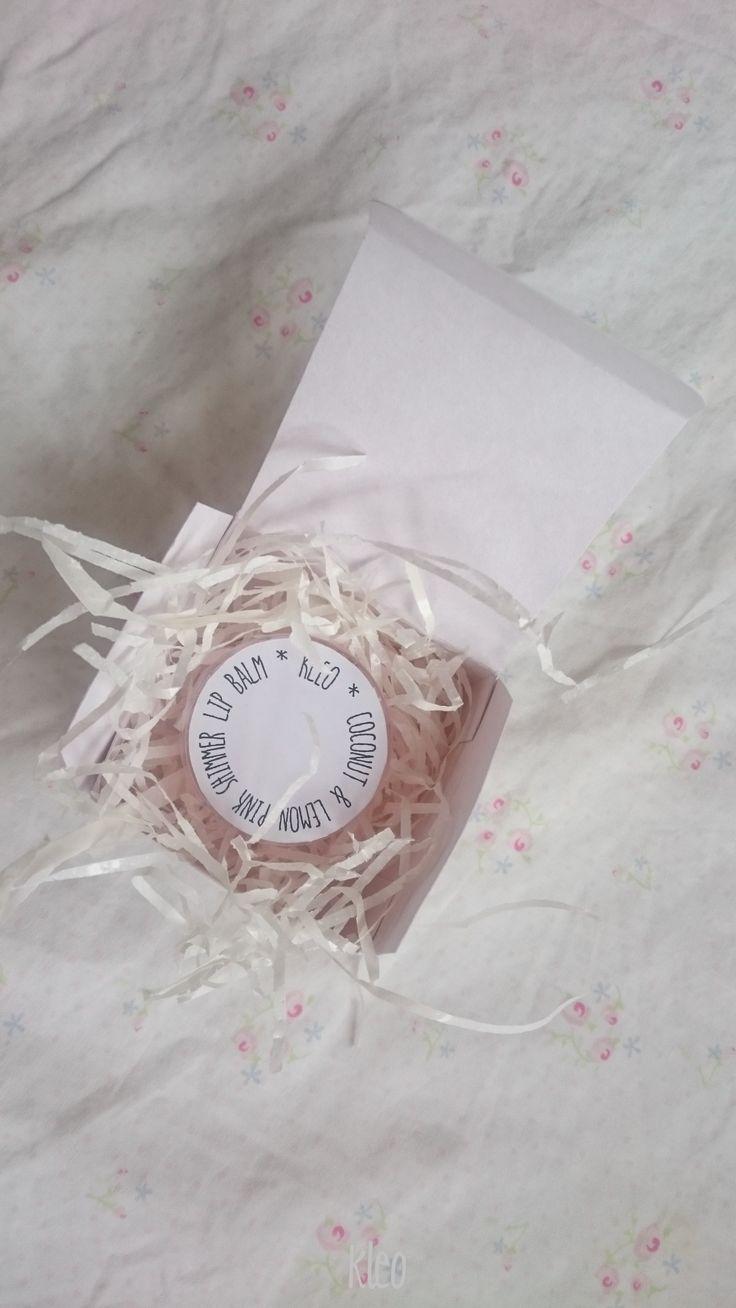coconut lemon lip balm with little pink shimmer  homemade
