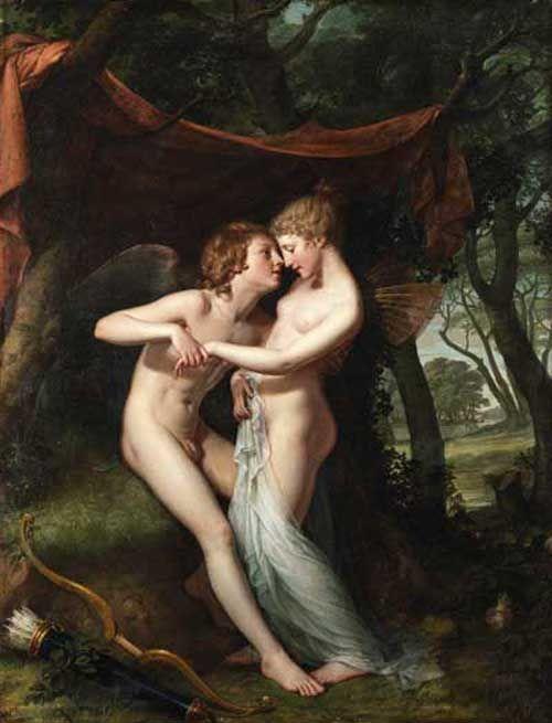 Hugh Douglas Hamilton, 1740-1808  Cupid and Psyche in the Nuptial Bower, 1792-1793, Hugh Douglas Hamilton #art #amoreepsiche #enicultura