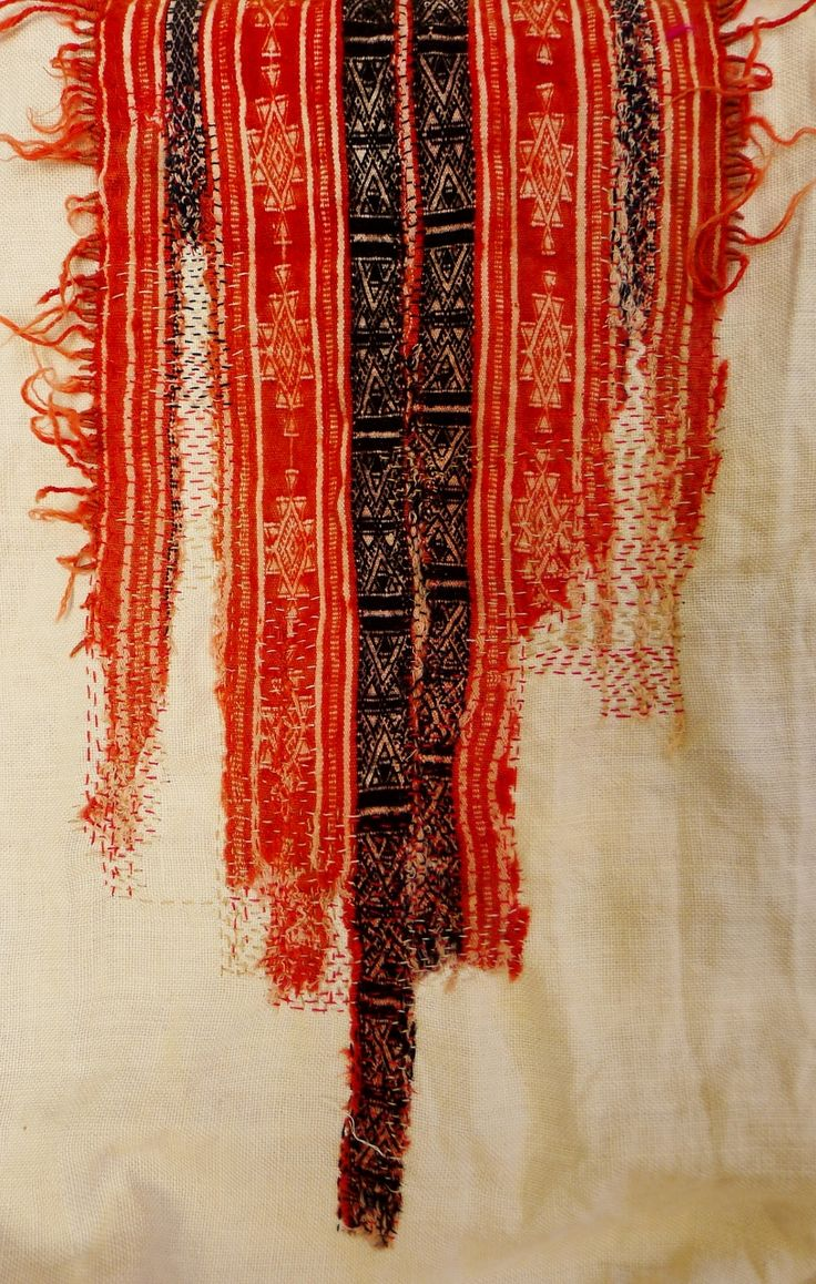 Fragment of old Tunisian tapestry stitched on    linen to slow deterioration.