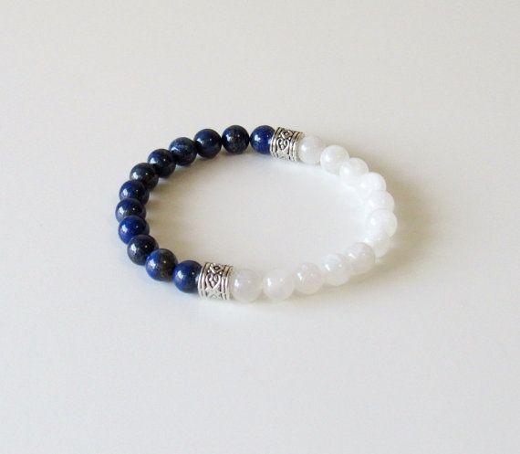 Moonstone  Bracelet  Lapis Lazuli Bracelet  Yoga by BBTresors