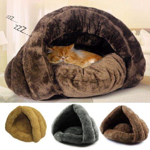 Hot-Soft-Kitten-Cat-Dog-House-Puppy-Cave-Pet-Sleeping-Bed-Mat-Pad-Igloo-Nest