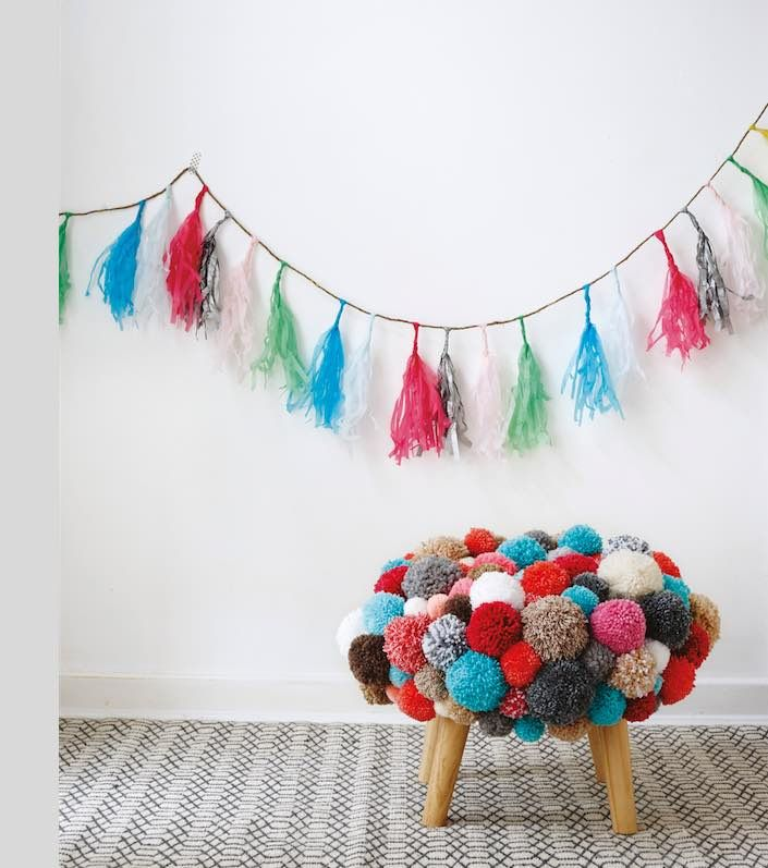 Today I've got the another great craft make for you. This pompom footstool is colourful, crazy and a little bit out there. But as it's creator Christine Leech says 'it never fails to ra…