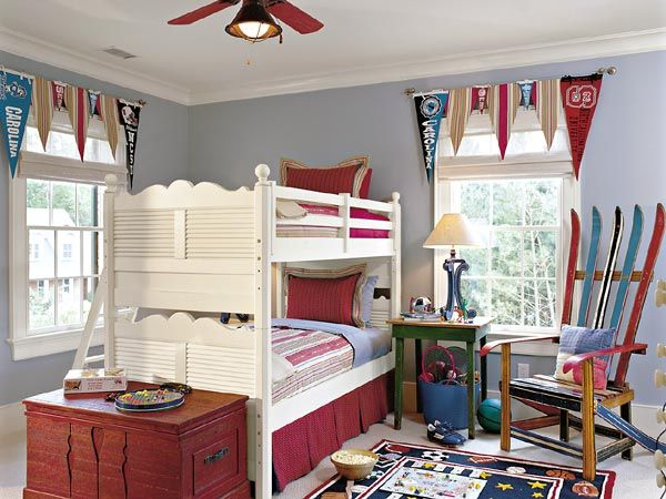 boys room: Wall Colors, Young Boys, Boys Bedrooms, Bunk Beds, Boys Rooms, Window Treatments, Bedrooms Ideas, Window Valances, Kids Rooms