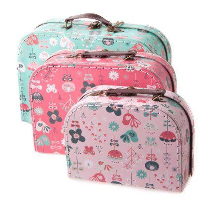 Juego de 3 vintage de pájaros prints sheetal Shah mueble para fundas de cajas de almacenamiento maleta con tapa ... - Caja para recién casados/mesa Plan/Venue dãcor ...
