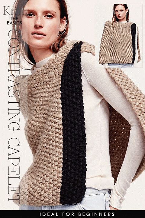 Knitting Poncho With Two Rectangles : Needlecrafts knit crochet rectangle ponchos textured