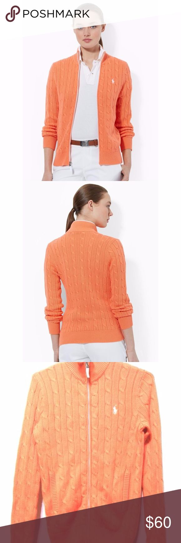 Ralph Lauren cable knit sweater jacket cardigan Ralph Lauren Golf Women's Orange Cable-knit Zip-up Sweater, 100% cotton. Size small ( US 4-6) In great condition Please refer to the model picture for accurate color. My camera always picture it either too bright or too dull :( Ralph Lauren Sweaters Cardigans
