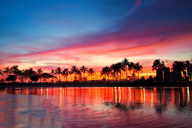 Magical Sunset, Hawaii Stock Photo - Image: 59766003 #hawaii #sunset #ハワイ #夕日  https://www.dreamstime.com/stock-photo-magical-sunset-colorful-sky-hawaii-seascape-view-evening-glow-coconut-trees-resort-image59766003