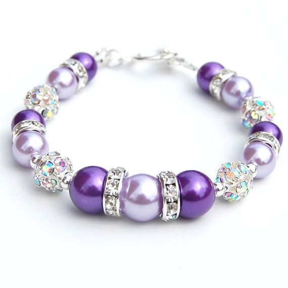 Amethyst and Lilac Pearl Rhinestone Bridesmaid Bracelet