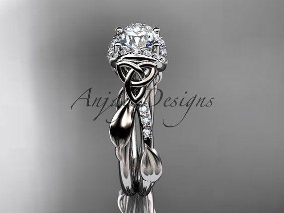 14kt white gold diamond celtic trinity knot by anjaysdesigns