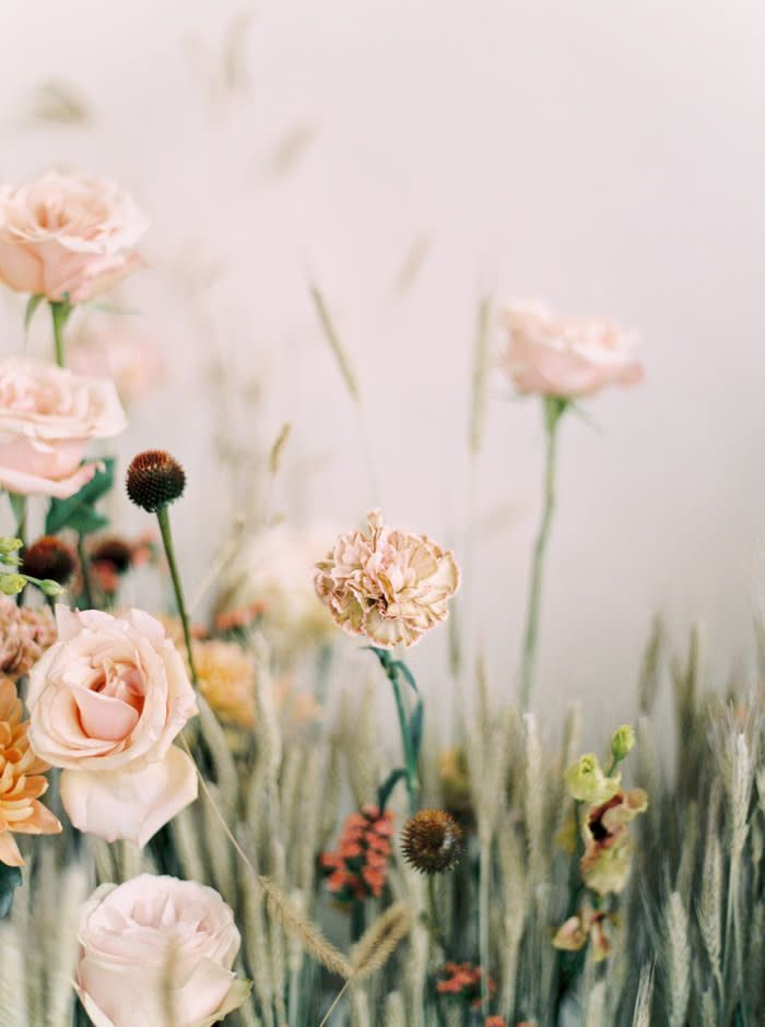 Neutral Bridal Editorial Made Warm and Whimsical With Pops of Pink, Lush Florals, and Feminine Details – Color Palette