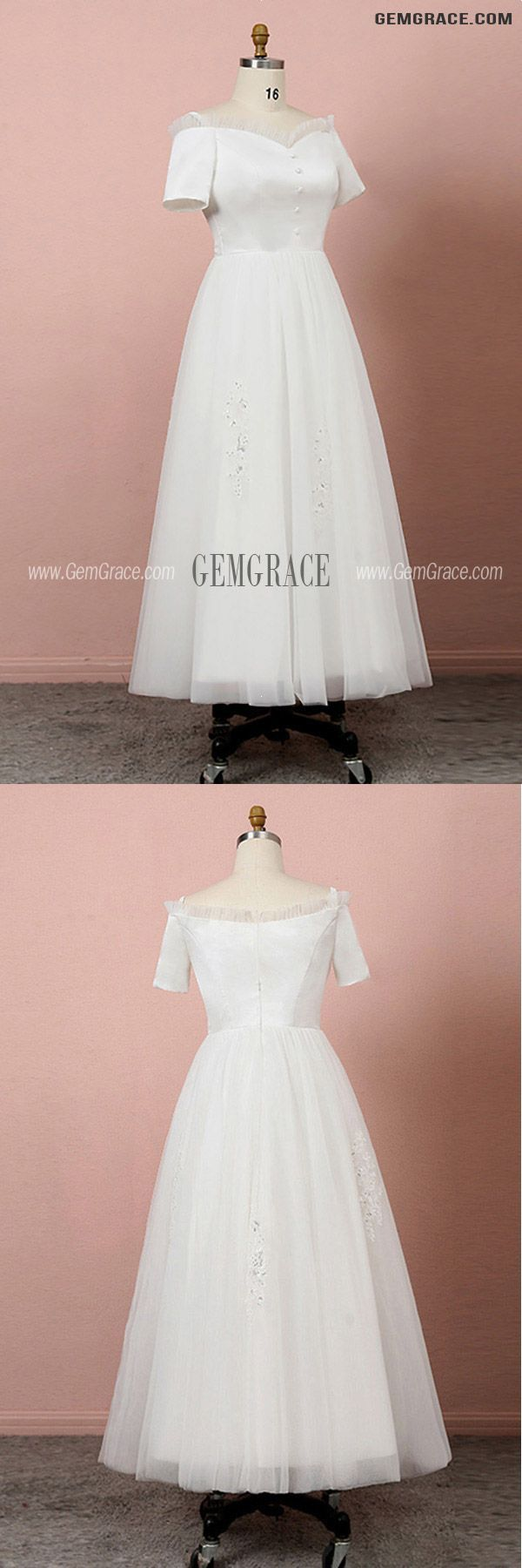 143 79 Custom Ivory Retro Ankle Length Wedding Dress With Appliques High Quality Zn6317 Gemgrace Com In 2021 Ankle Length Wedding Dress Wedding Dress Sleeves Tea Length Dresses [ 1800 x 600 Pixel ]