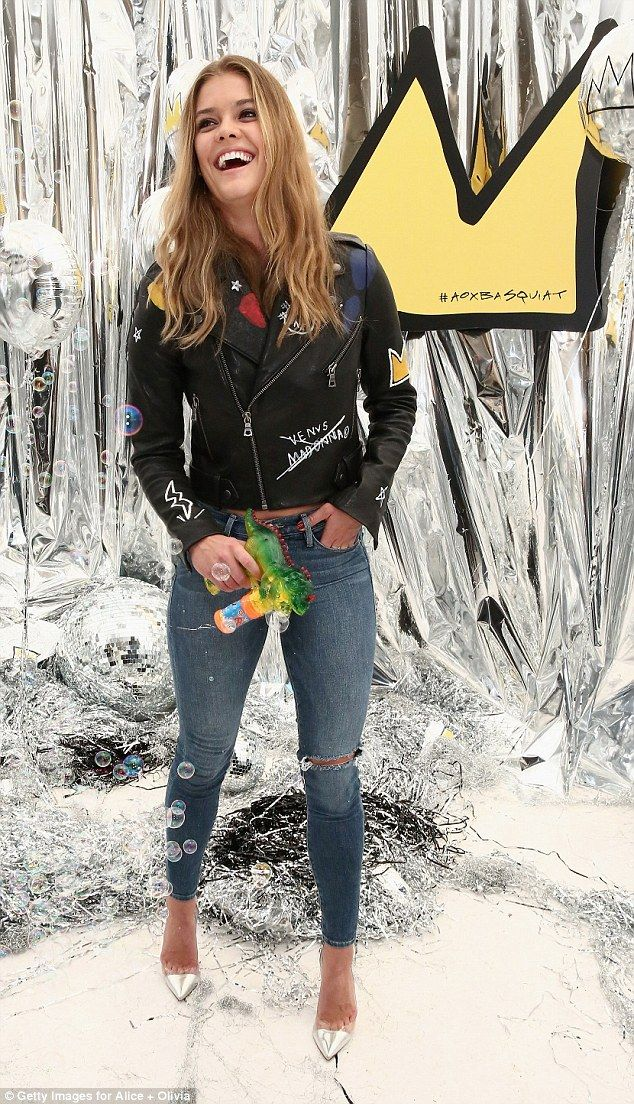 Happy face: Nina Agdal was all smiles as helped celebrate the launch ofAlice + Olivia x Basquiat clothing line in NYC on Wednesday