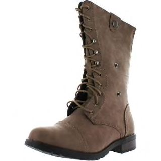 Reneeze Alice-08 Women's Mid-Calf Combat Boots With Foldable Lace Up Shaft