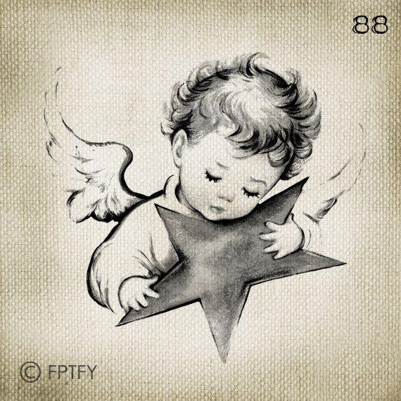 Beau bébé Vintage ange Image numérique grand Télécharger par ptfy