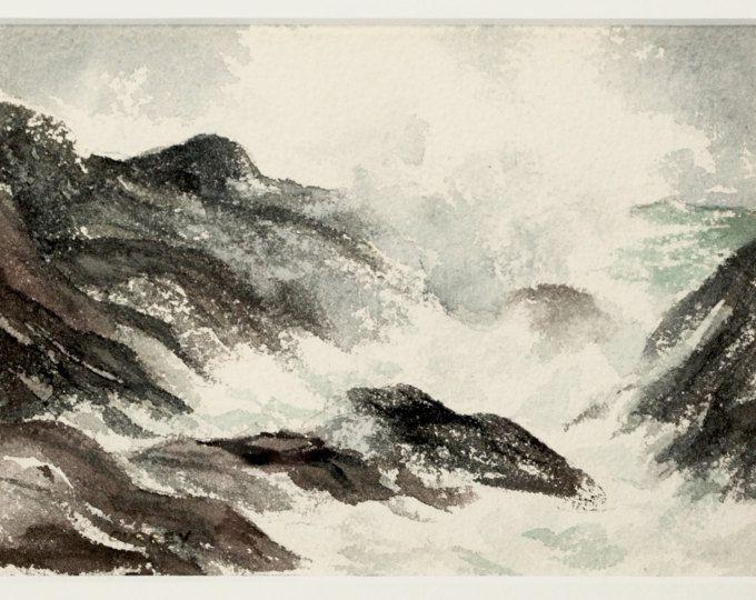 Oceaan aquarel, originele vintage schilderij, strand schilderij, schilderij van de Oceaan, water schilderen