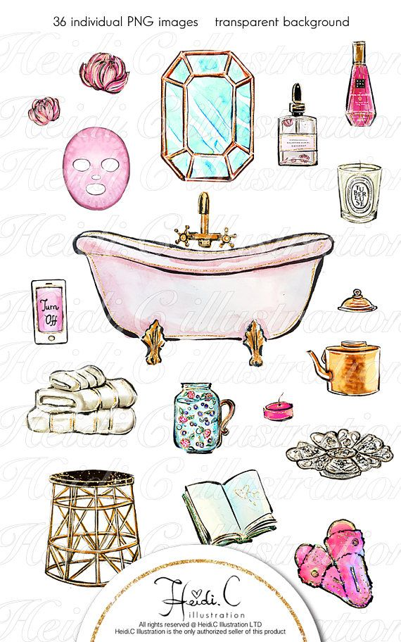 Spa Clipart Spa Girl Beauty Relax Wellness Bath Time Bathroom