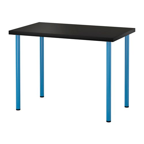 IKEA - LINNMON / ADILS, Table, black-brown/blue, , Pre-drilled holes for legs, for easy assembly.Adjustable feet make the table stand steady also on uneven floors.