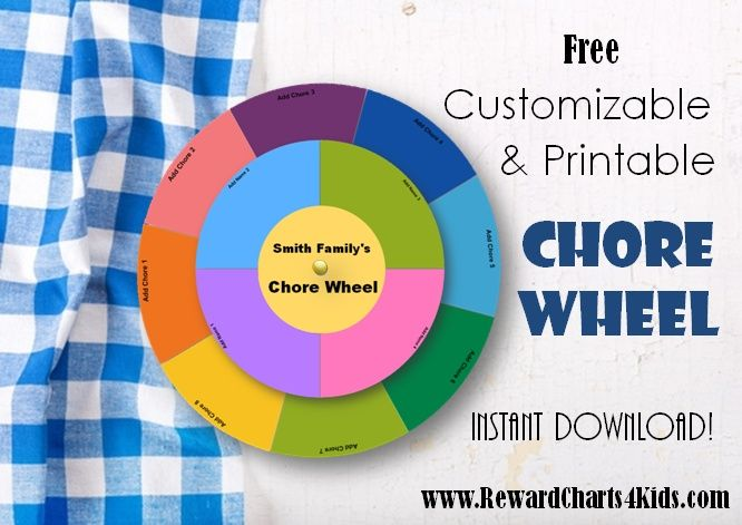 This is a free printable and customizable chore wheel. Type in the name of each person and your chore list before your print and assemble. Instant download!