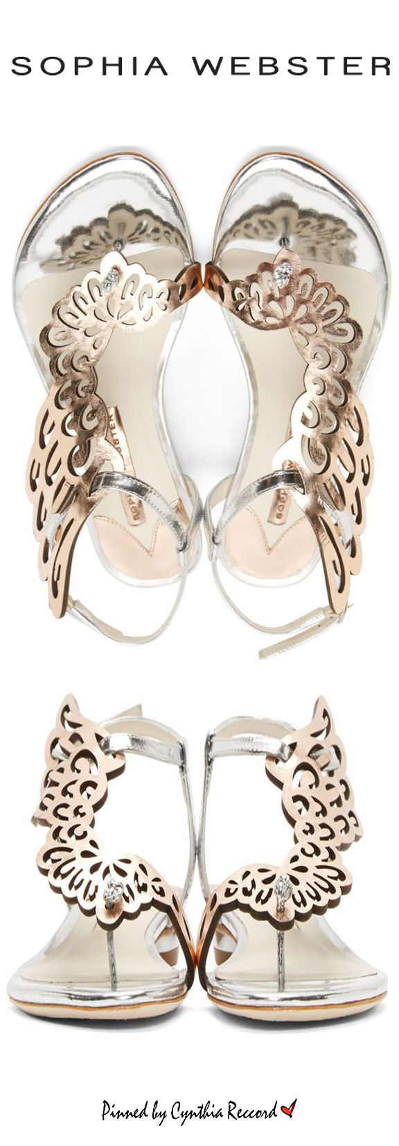Sophia Webster Rose Gold & Silver Wing Seraphina Sandals | SS 2015 | cynthia reccord | flats & sandals