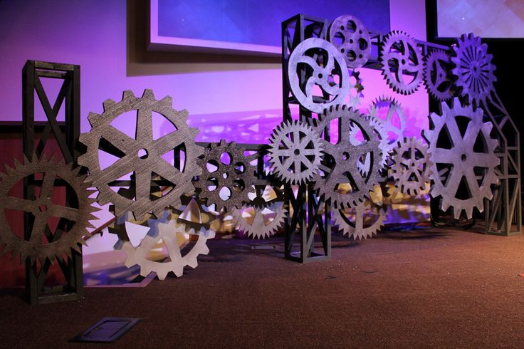 Styrofoam and cardboard gears for stage design