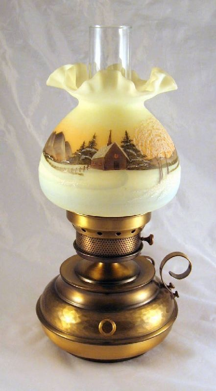 Fenton Custard Hammered Colonial Church In Winter Lamp