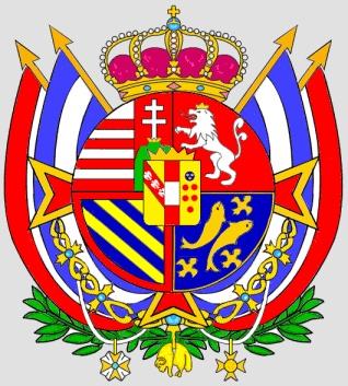 Lo stemma del Granducato di Toscana ebbe sulle bandiere diverse versioni, con varianti soprattutto nei trofei e negli ornamenti. Dopo la restaurazione del 1814, apparve sovente in forma rotondeggiante, senza cornice dorata ma ornato di fogliame, con accollata la croce di Santo Stefano. Al collare dell'Ordine del Toson d'Oro si aggiunsero altre decorazioni. Le bandiere bianco-rosse in trofeo furono affiancate da quelle a strisce azzurre e bianche del Regno di Etruria