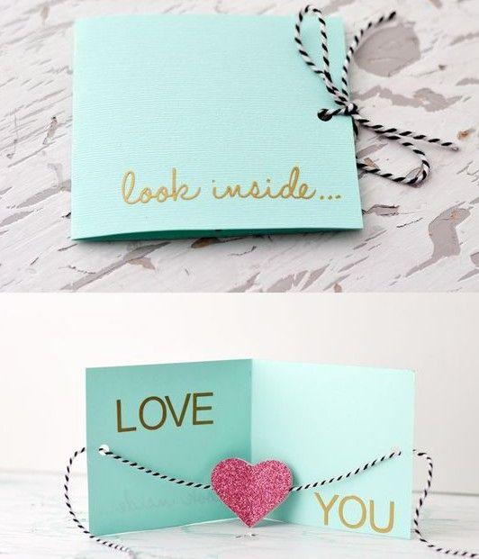 63 Trendy Ideas For Birthday Card For Boyfriend Diy Simple Easy Diy Valentine's Day Cards, Valentines Day Cards Diy, Homemade Valentines, Valentine's Day Diy, Valentine Crafts, Diy Cards, Tarjetas Diy, Birthday Cards For Boyfriend, Diy Gifts For Friends