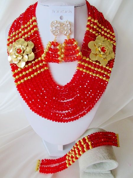 Nigerian Wedding Jewelry Set Hot Sale African Red Crystal Beads Jewelry Set Big Costume Jewelry Set Free Shipping CPS-3376 $58.57