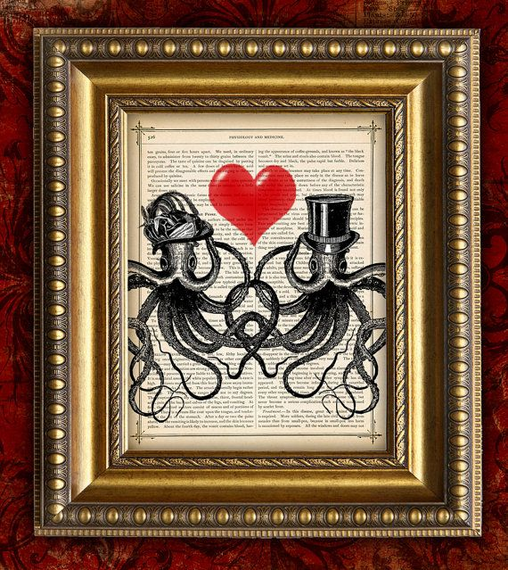 DIctionary Art Print Book Page Art Print recycled upcycled Antique OCTO LOVE OCTOPUS Lovers Valentines Day Gift Home Decor Wall Decor 8x10