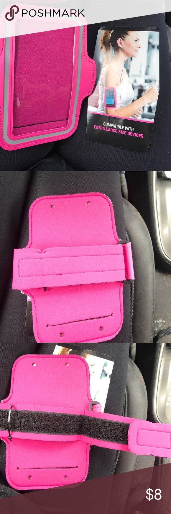 Pink XL active armband NEVER USED Bought this thinking it may fit my iPhone 7plus... it didn't.   It's for IPhone 6/6plus/Samsung note 3,4,5....... So it's never been used.   I can even send it with the packaging. Accessories Phone Cases