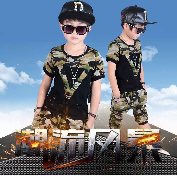 >> Click to Buy << kids baby clothes dressKids Boys camouflage summer 2017 new tide children T-shirt suit small boy scout summer #Affiliate