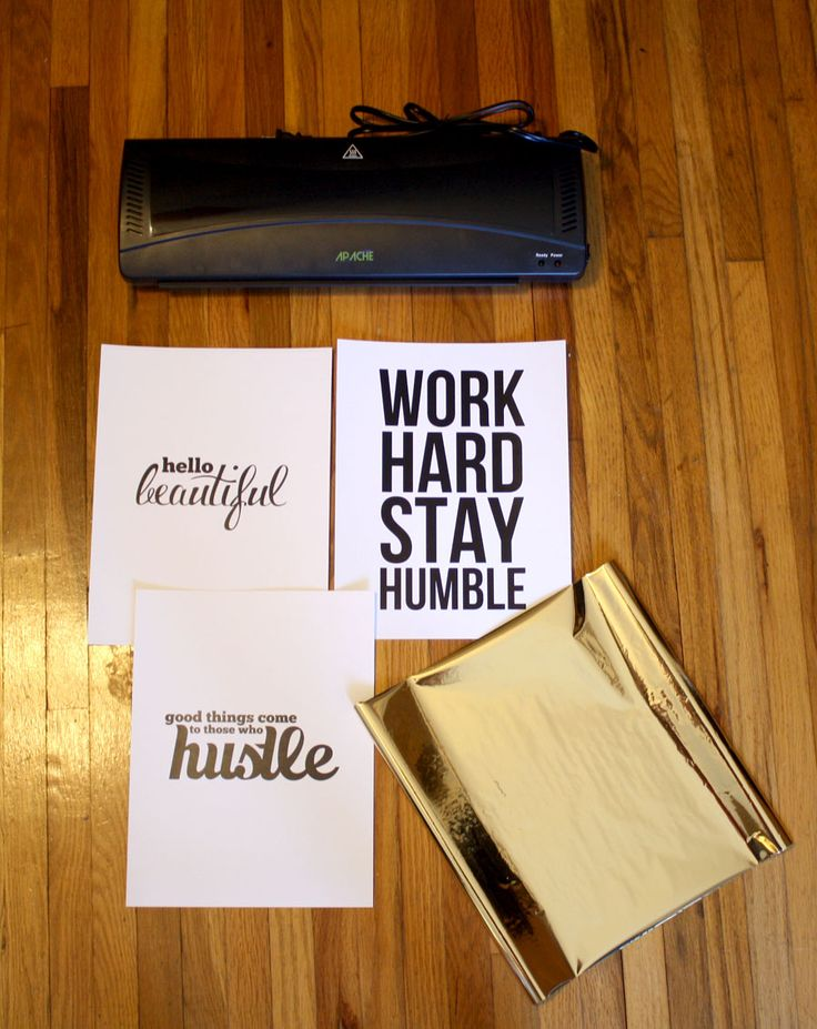 gold foil text using a laser printer and a laminator (and gold foil sheets, of course)