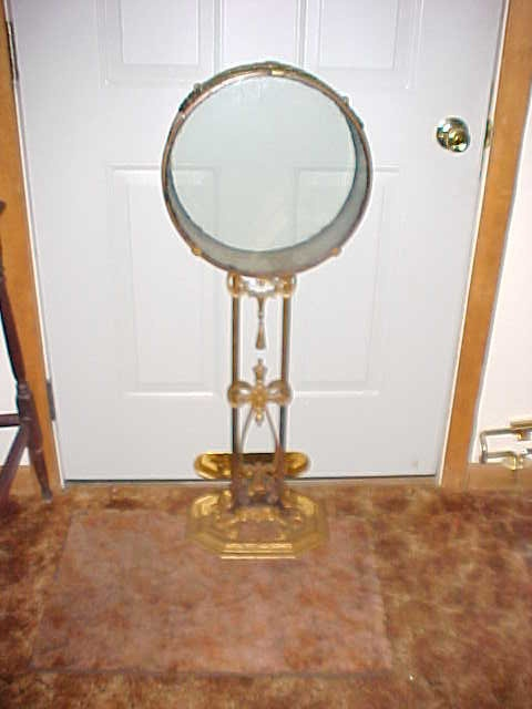Antique round bronze brass and iron metal fish bowl and for Fish bowl stand